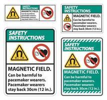 instrucciones de seguridad El campo magnético puede ser perjudicial para los usuarios de marcapasos. vector
