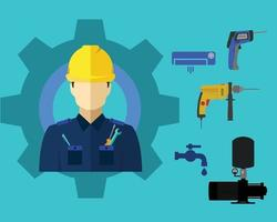 Technician and tool set icon vector