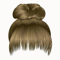 bun  hairs with fringe  blond colors . women fashion beauty style . vector