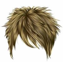 trendy woman short  hairs  blond  colors . fringe . fashion beauty style . realistic  3d . vector