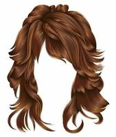 trendy woman long hairs red  colors .  beauty fashion .  realistic 3d vector