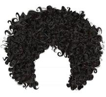 trendy curly  african black  hair  . realistic  3d . fashion beauty style . vector