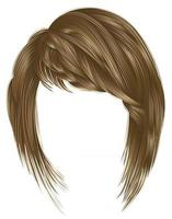 trendy  woman  hairs kare with fringe  . light  brown blond  colors . medium length . beauty style . realistic  3d . vector