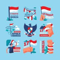 Indonesia Independence Day Icon and Sticker vector
