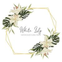 watercolor tropical flower rustic frame with lily vector