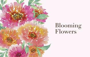 Beautiful Watercolor Of Blooming Flowers Background vector