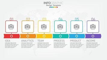 elemento de color de pasos de infografía con flecha, diagrama de gráfico, concepto de marketing en línea de negocios. vector