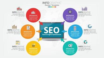 SEO search engine optimization banner web icon for business and marketing vector