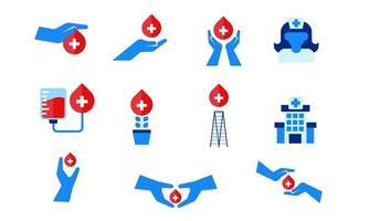 set collection icon blood donation save life hospital illustration design vector