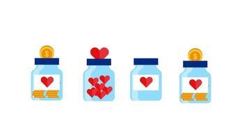 set collection donation jar with big heart or saving money on the jar flat illustration design vector