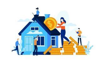 hard work manage finances save house investment vector illustration concept template background