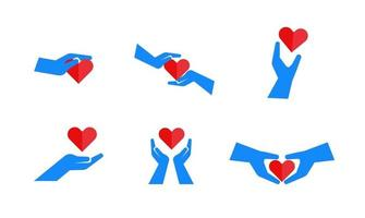 set collection icon blood donation save heart love hand illustration design vector