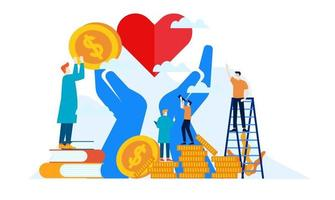 donation day charity with big heart and big hands flat illustration design vector