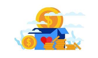 donation box humanity charity with big heart  gift box flat illustration design vector