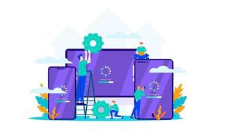 update software mini people work with upgrade system maintenance flat illustration vector