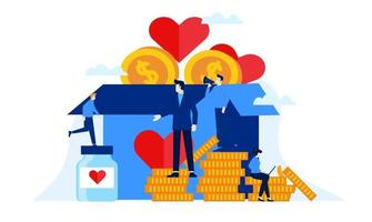 donation box charity with big heart flat illustration design vector