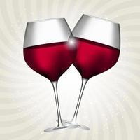 Full Glass of Red Wine on Swirl Background Vector Illustration