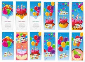 color brillante feliz cumpleaños globos y pastel banner set centrico vector