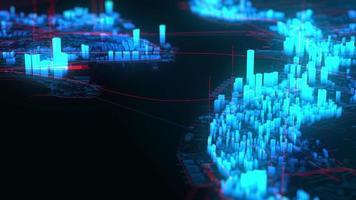 les bâtiments de la ville d'hologramme tournent, animation industrielle graphique par ordinateur video