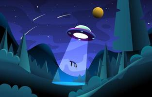 UFO Take People To The Sky vector