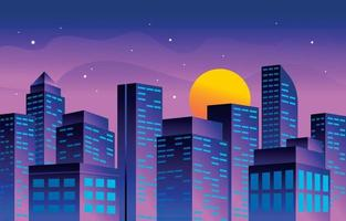Cityscape Night View vector