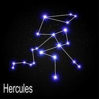 Constelación de Hércules con hermosas estrellas brillantes en el fondo de la ilustración de vector de cielo cósmico