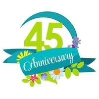 Cute Nature Flower Template 45 Years Anniversary Sign Vector Illustration