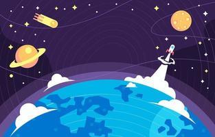 tierra en el fondo del espacio vector