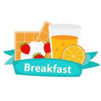 Breakfast Cereal Oatmeal and Orange Juice, Icon in Modern Flat vector