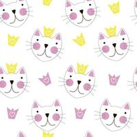 Cute Hand Drawn Cat with Crown Seamless Pattern Background vector