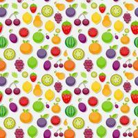 fondo transparente de manzana, naranja, ciruela, cereza, le vector