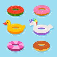Summer Swiming Pool Inflatable Float Icon Collection vector