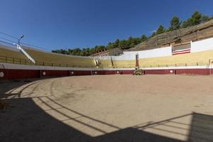 Maintenance of the Plaza de Toros, Bullfighting, in the town of Arcos de Jalon, province of Soria, Castilla y Leon, Spain photo