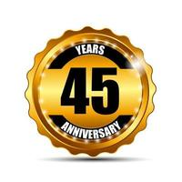 45 Anniversary Gold Label Sign Template Vector Illustration