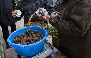 Mercado tradicional de trufas negras en Lalbenque, Francia foto