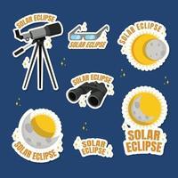 Space Solar Eclipse Icon Set vector