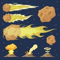 Space Meteor Icon Set vector