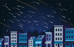 Meteor Rain On The Sky Concept vector