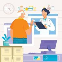 Patient and Doctor Meeting Virtually Discussing Medicine Concept vector