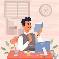 Man Reads Book At Home Concept vector