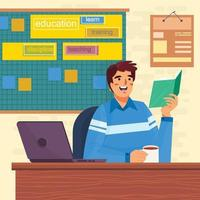 Man Reads Book In Office Concept vector
