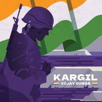 Silhouette Soldier Saluting to Celebrate Kargil Vijay Diwas vector