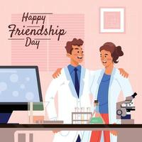 Scientists Celebrate Friendship Day in Laboratory Concept vector