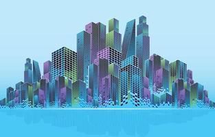 concepto de fondo de la ciudad de rascacielos vector
