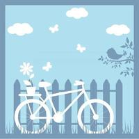 bicicleta en el fondo de una valla, corte de papel, ilustración de verano en capas para la elaboración vector