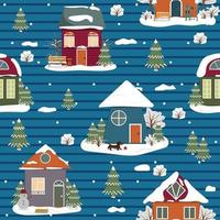 Winter Christmas house pattern, color vector illustration on striped background