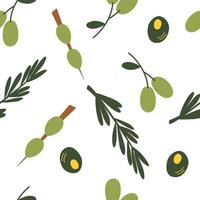 Seamless pattern with olives. Colorful cartoon green olives background. Perfect for restaurants and bars, martini events, organic cosmetics, olive oil companies, flyers and menus. Vector illustration