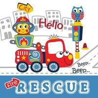 fire rescue team funny cartoon vector