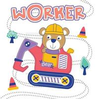 bear and excavator funny cartoon vector