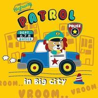 lion police on the patrol funny cartoon vector